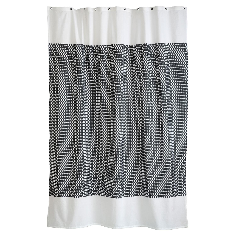 Grid Shower Curtain 150x200cm Black Off White