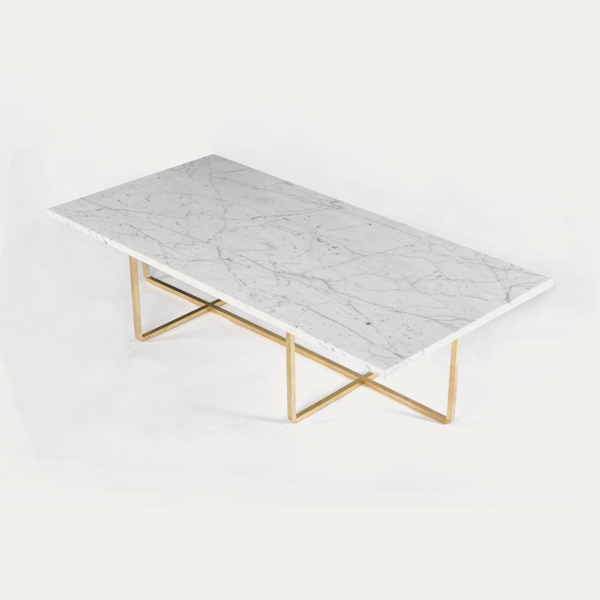Ninety Coffee Table 120x60x30 White Marble Brass Dennis
